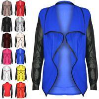 Womens Ladies PVC Wet Look Long Sleeves Open Waterfall Blazer Cardigan Top