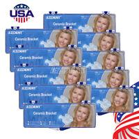 USA AZDENT Dental Orthodontic Ceramic Brackets Braces 5*5 Roth 0.022 3-4-5 Hooks
