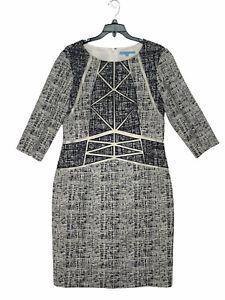 Antonio Melani Womens Gray Abstract Crew Neck 3/4 Sleeve Sheath Dress Size 10