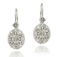 925 Sterling Silver Diamond Accent Filigree Leverback Earrings