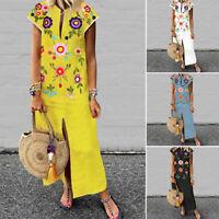 Women's Summer Beach T-Shirt Dress Floral Print Sunflower Shirt Dress Sundress