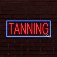 "Brand New ""Tanning"" w/Border 32x13X1 Inch Led Flex Indoor Sign 30135"