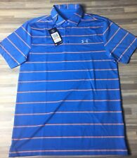 $65 Under Armour Golf Zone Stripe Playoff Size SMALL Polo Shirt Blue 1253479-992