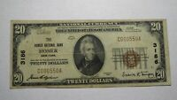 $20 1929 Homer New York NY National Currency Bank Note Bill! Ch. #3186 FINE!