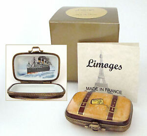 Limoges Box - Titanic Luggage Suitcase and Ship Painted Inside