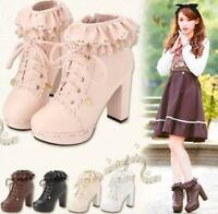 Retro Womens Lace Up Platform High Block New Cosplay Lolita Ankle Boots Shoes