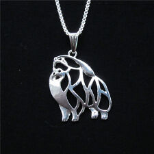 Pomeranian Dog Pendant Necklace Silver Plated ANIMAL RESCUE DONATION