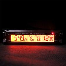 Auto Car Digital Thermometer Voltmeter Clock Indoor Outdoor Temperature Meter