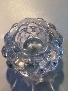 Orrefors Raspberry Bubble Shape Glass Candle Holder