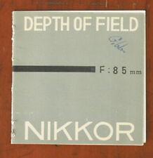 NIKON DEPTH OF FIELD BOOK FOR 85 NIKKOR/53996