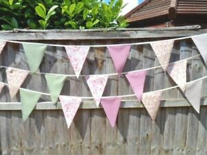 BUNTING Shabby Chic Country Vintage FABRIC Wedding Garden Party Decorations NEW
