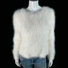 """Fuzzy 80% Angora Vintage BALLINGER GOLD Off-White Pullover Sweater 32""""-Bust"""