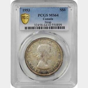 1953 Canada Dollar. Strap. PCGS MS 64