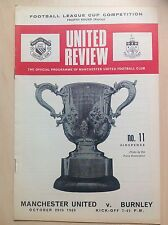 Manchester United v Burnley 1969-70 League Cup programme