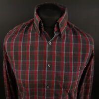 HUGO BOSS Orange Mens Shirt SMALL Long Sleeve Regular Fit Check Cotton