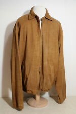 Vintage Ralph Lauren Polo Men's Carmel Tan Sueded Leather Bomber Jacket Coat