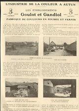 71 AUTUN ETS GOULOT & GANDIOL FABRIQUE COULEURS &  VERNIS SAINT-MARTIN 1924