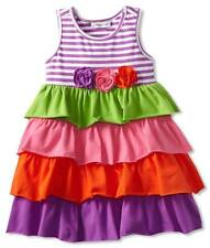 NWT Girl 2T Bonnie Jean Spring Tiered Rhumba Ruffle Dress Vibrant Colors