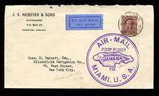 Premier vol 1930 airmail Jamaïque à Miami... Webster armateurs