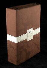 """Brown Jacquard Curtains Pair 90"""" x 90"""" 100% Cotton Floral Design 2 Tie Backs"""