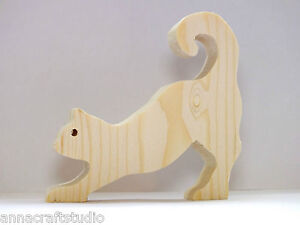 CAT- wooden shape Other animals available-Real pine wood-Hand made-     (1)