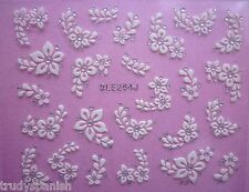 3D Nail Art Lace Stickers Decals Transfers WHITE SILVER Flowers Rhinestone (264)
