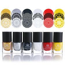 6 Bottles Born Pretty Stamping Stamp Plate Polish Nail Art Varnish 6ml #1-6