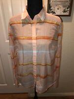 Womens JCP Silk Blend Top Blouse Button Down Shirt Size M Medium Collared Orange
