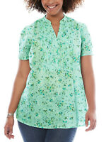 Woman Within blouse shirt plus size 1820 22/24 26/28 30/32 34/36+ green blossom