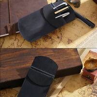 Handmade Cowhide Leather Vintage Pen Pencil Case Stationery Storage Bag Black