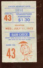 July 11 1973 Ticket Stub Houston Astros at New York Mets Willie Mays Hit