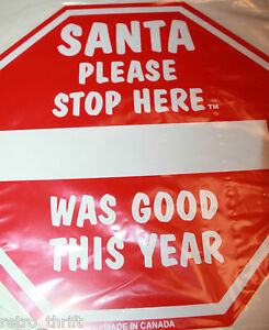 Santa Please Stop Here Sign x 2 Christmas Keepsake Personalize With Your Name