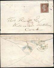 PENNY RED IMPERF 1850 LONDON VIGNETTE FLAP ENV to IRELAND DISTILLER FJ 4 MARGINS