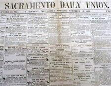 5 rare original 1872 SACRAMENTO DAILY UNION newspapers CALIFORNIA 150 years old