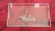 "Mark and Graham Holiday Clear Acrylic Serving Tray ""Believe"" NIB Small"