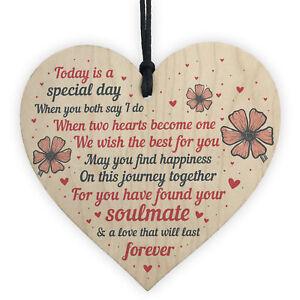 Wedding Gift Wooden Heart Plaque Mr And Mrs Good Luck Bride Groom Keepsake Gift