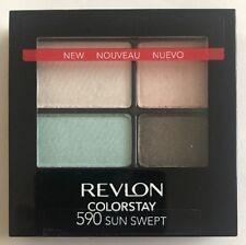 Revlon Quad Eyeshadow 590 Sun Swept Nude Brown Bronze Sky Blue Pink petal Cream