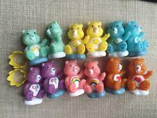 "mini plastic CARE BEARS set of 6 cake decoration, figures, game pieces 1.75"""