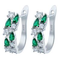 Women 925 Silver Earring Emerald White Topaz Wedding Proposal Hoop Stud Earrings