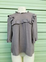 NWT ZARA PLAID BLOUSE WITH RUFFLES high collar and elbow-length sleeves Sz S N64