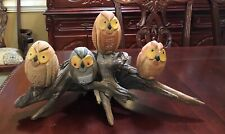 UNIQUE ART NATURAL OWLS DRIFTWOOD FIGURINE HAND CARVED  BY NC ARTIST J.D. PRICE