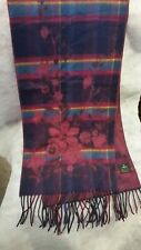 V. Fraas Made in Germany Scarf Acrylic Floral Plaid Plum Purple Teal