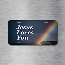 Jesus Loves You Vehicle License Plate Front Auto Tag Plate Christian Rainbow NEW