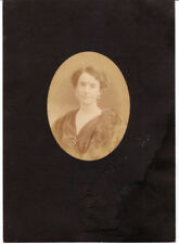 Oval portrait An elegant woman with fur and pearl earrings 1900c G. Brogi L455