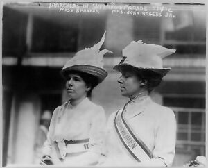 Two Women Marching Suffrage Parade 1912 Vintage Photo Reprint Suffragettes