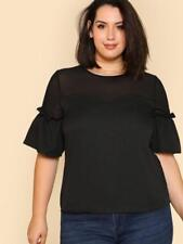 NEW..Stylish Plus Size Black Top with Ruffled Sleeves.Sz16/3XL