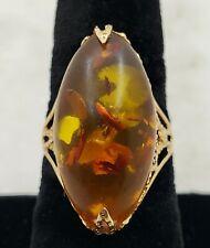 14K Yellow Gold Ladies Ring w/ 1 pc Amber