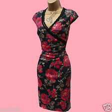 KAREN MILLEN Black Red Roses Floral Lace Trim Satin Cocktail Wiggle Dress 12 UK