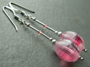 Vintage Style Raspberry Pink Swirl Murano Glass Beads & Sterling Silver Earrings