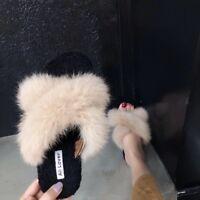 Womens Ladies Fluffy Fur Flat Sliders Sandals Summer Furry Slides Mules Size UK